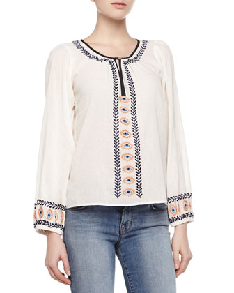 Paros Embroidered-Trim Voile Top