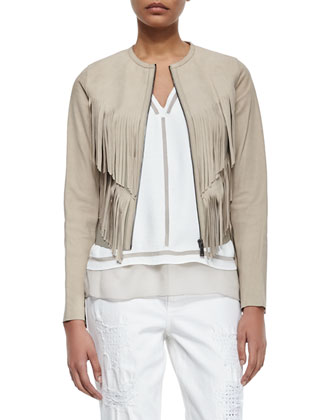 Paulina Suede Fringe Jacket, Herika Sleeveless Striped Top & Distressed ...
