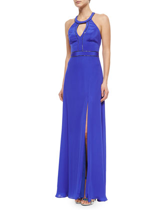 Halter Keyhole Beaded Gown