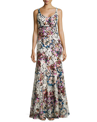 Floral-Print Lace Gown, Multicolor