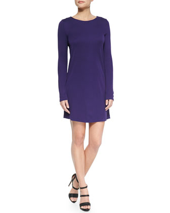 Long-Sleeve Jersey Dress w/ Keyhole, Aubergine