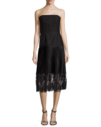 Strapless Lace-Skirt Dress, Black