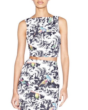 Sleeveless Bird-Print Crop Top