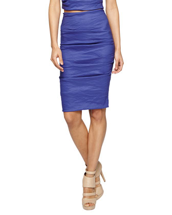 Ruched Body-Conscious Skirt, Blueprint