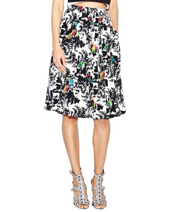 Bird-Print Pleated Full Skirt