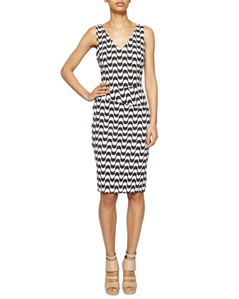 Sleeveless Mosaic-Print Sheath Dress