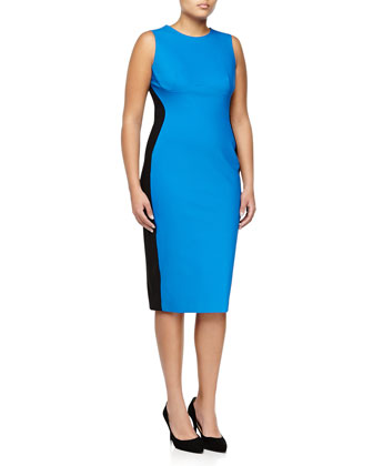 Sleeveless Colorblock Slim Sheath Dress