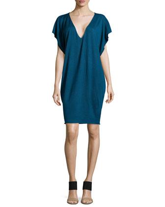 Cashmere-Blend Dolman-Sleeve Jersey Dress, Blue
