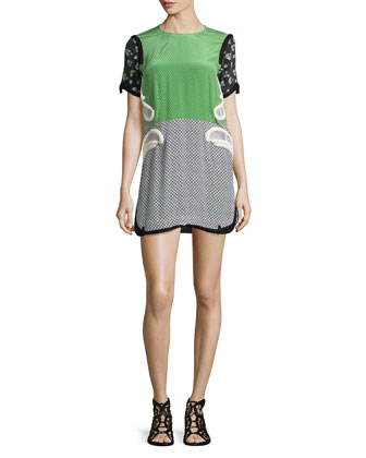 Contrast-Sleeve Polka-Dot Shift Dress, Green