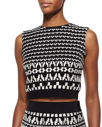 Geometric-Pattern Sleeveless Crop Top, Black/White