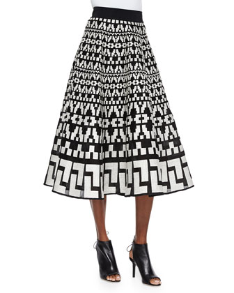 Geometric-Pattern Full Midi Skirt, Black/White