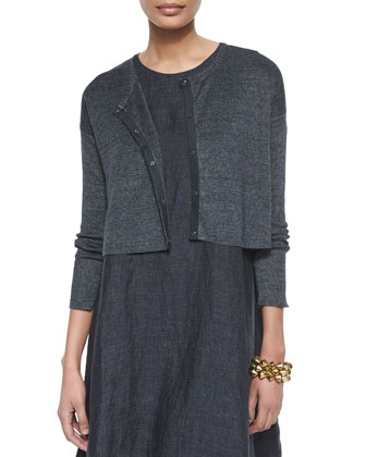 Linen Delave Crop Cardigan, Sleeveless Flare Dress & Natural Dyed ...