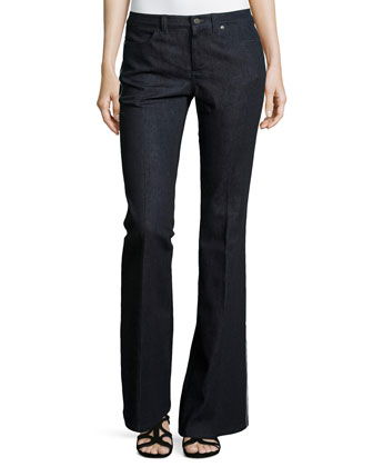 Stretch Wide-Leg Denim Pants, Blue