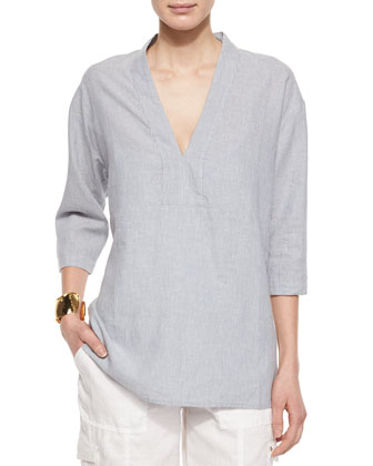 3/4-Sleeve Striped Chambray Box Shirt