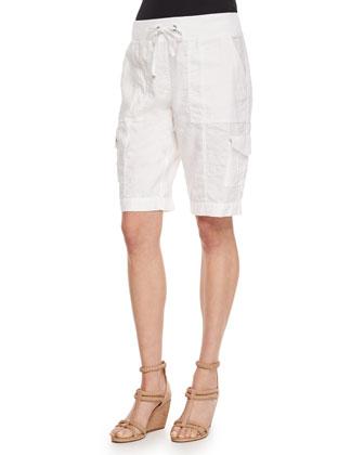 Wavy-Stripe Organic Cotton Cardigan, Short-Sleeve Scoop-Neck Box Top & ...