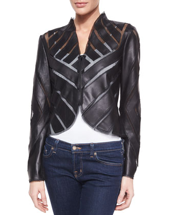 Lambskin Geometric-Pieced Jacket, Black