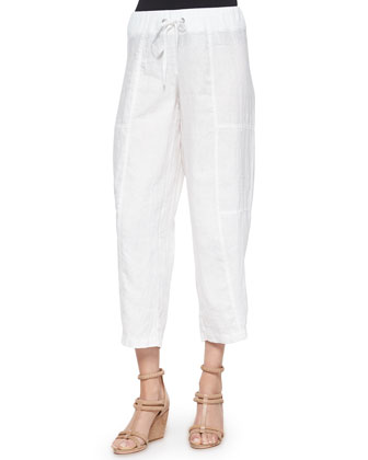 Pinstriped Knit Box Top & Wide-Leg Organic Linen Pants
