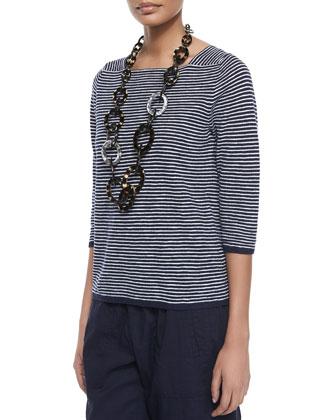 3/4-Sleeve Slub Striped Top & Linen-Blend Cargo Ankle Pants, Women's