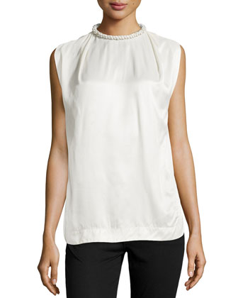 Sleeveless Embellished-Neck Top