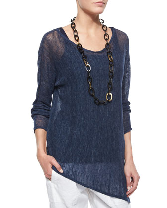 Long-Sleeve Linen Asymmetric Top