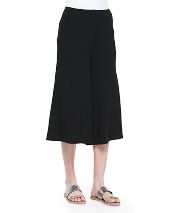 Presli Cropped Wide-Leg Pants, Black
