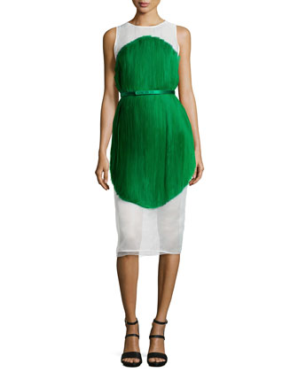Sleeveless Silk Dress with Belted Waist