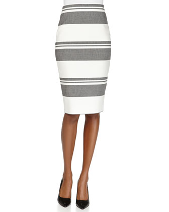 Aisling Striped Twill Pencil Skirt