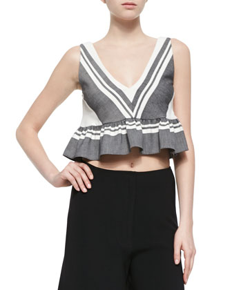 Analinne Striped Ruffled Crop Top