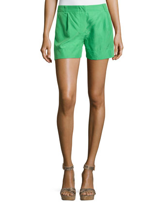 Woven Pleated-Front Silk Shorts, Green