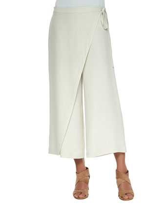 Karate Cropped Silk Pants, Petite