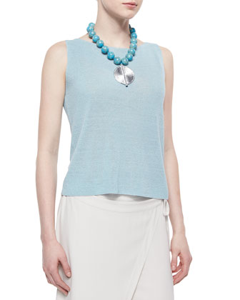 Sleeveless Linen-Blend Shell, Dewberry