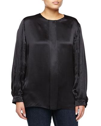 Pleated-Sleeve Silk Shirt