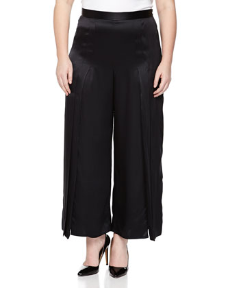 Silk Pleated Wide-Leg Pants, Black