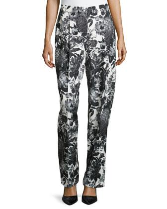Floral-Print Straight-Leg Trousers