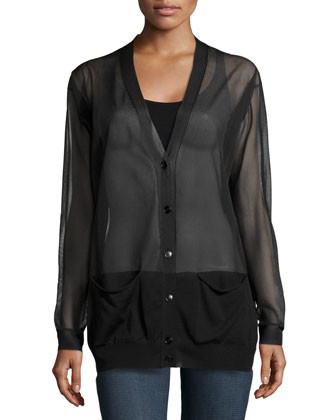 Sheer-Knit V-Neck Cardigan, Black
