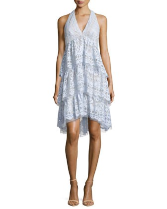 Jessika Tiered-Lace Halter Dress