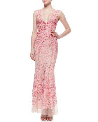 Claudea V-Neck Column Gown