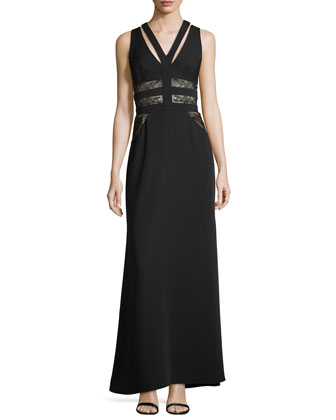 Emyli Sleeveless V-Neck Lace-Inset Gown