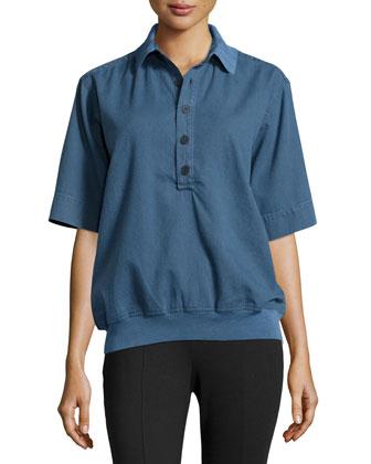 Short-Sleeve Half-Button Shirt