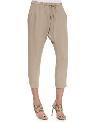 Satin Drawstring Harem Ankle Pants, Women's