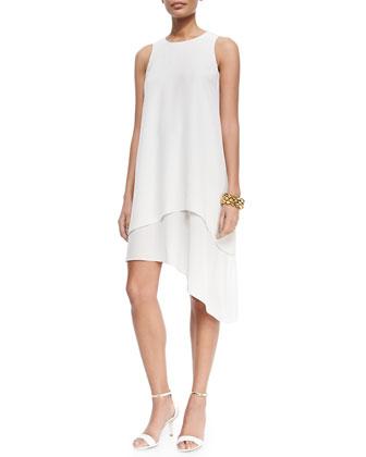 Double-Layer Silk Dress, Bone, Women's