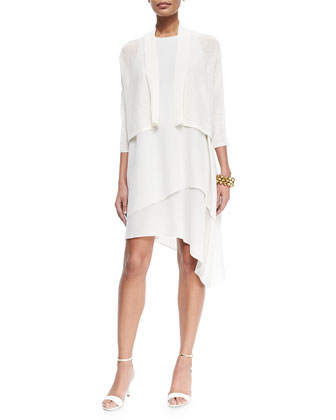 3/4-Sleeve Kimono Cardigan & Double-Layer Silk Dress, Bone, Women's