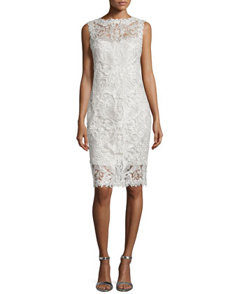 Lace Embroidered Sheath Dress, Silver