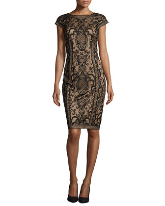 Lace Sheath Dress, Black/Nude