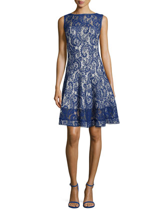 Lace Fit-and-Flare Cocktail Dress, Deep Lagoon