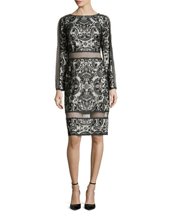 Lace Long-Sleeve Dress, Black/Ivory