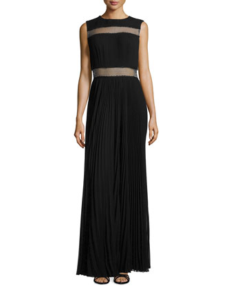 Mesh-Inset Plisse Gown, Black