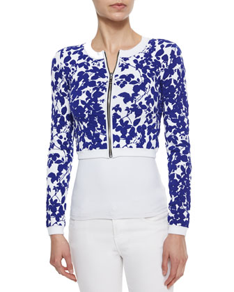 Midnight Cropped Floral-Print Jacket