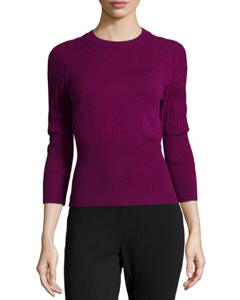 Three-Quarter-Sleeve Cashmere Sweater