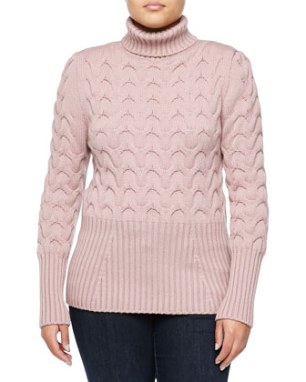 Cable and Ribbed Knit Turtleneck Sweater, Pink Granite